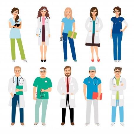 Illustration: Tio personer som representerar vårdyrken